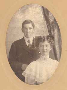. Absalom Anderson, V, and his sister, Amanda (Anderson) McDonald: These are the two children of Absalom Anderson, IV, and Anna (Pollock) Anderson in Saskatchewan, Canada. Amanda's husband, the late J. C. McDonald, shown in one of the photographs, owned and operated a foundry-type business at Prince Albert and, at one time, served as President of the Canadian Manufacturers Association. Several of the McDonald sons returned to the foundry business of their father following their World War II service. In one of these photographs, which was taken on the 11 June 1913 wedding date of Amanda and her husband, Amanda's father, Absalom (IV), the father of the bride, is shown with the bride and groom (possibly the last picture taken of him prior to his enlistment in the Canadian Army). One of the foregoing photographs shows the father in his Canadian Army uniform. Amanda McDonald visited Anne Arundel County and her relatives there several times during her lifetime, staying in 1912 with her uncle by marriage, the late Judge Lemon Beall, Sr., and attending, with him when he was a Delegate, the Democratic Party National Convention, in Baltimore, when New Jersey Governor Woodrow Wilson received the nomination for President of the United States. Amanda was so impressed with Governor Wilson that, after she returned home and then married in 1913, she named her first born and oldest son, Woodrow McDonald, after the President of the United States.