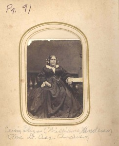 Eliza (Williams) Anderson. wife and widow of Dr. Asa Anderson, See pages 96-97 of Mrs. DuLaney's Andersons from the Great Fork of the Patuxent.