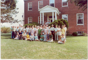 A picture taken on the front porch of the Halls Grove farm home at Rutland, Gambrills, Anne Arundel County, Maryland, on the occasion of an Anderson Family Reunion held nearby during the Summer of circa 1973