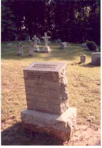 "The cemetery headstone and family marker tombstone, respectively, at the Cemetery of St. Stephens Episcopal Church at Crownsville, Maryland, where two generations, at least, of the family of Richard (""Bud"") Anderson (son of Samuel Anderson, Sr., and Elizabeth (Anderson) Anderson, are interred, along with a few other family members, including Lucy Caroline (Gaither) Anderson (Mrs. Isaac Cord Anderson, II)."