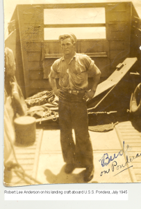 Robert Lee (Bud) Anderson on his landing craft upon which he landed troops during the island campaign against Japan. That craft was the one he drove into Okinawa. At the time of this photograph they were preparing to invade Japan.