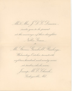 A copy of the invitation to the wedding, at Baldwin Memorial, circa 1916, of Ida M. Anderson and C. Milton Duvall.