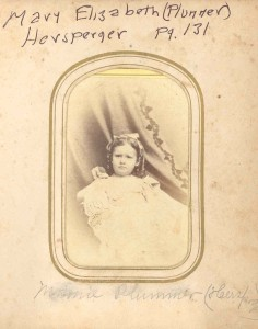 "Mary Elizabeth (Plummer) Hersperger, of Frederick County, Maryland. DE:100. She was the mother of the late Baltimore physician, Dr W. Grafton Hersperger. This family is written up in Mrs. DuLaney's Anderson genealogy at page 131. They t race back to Richard (""Bud"") and Sophia Hall (Woodward) Anderson, of White's Hall near today's Crofton, Maryland."