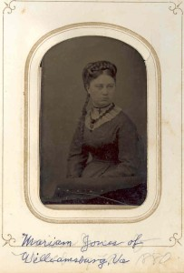 Miriam Jones. Believed to have been a descendant of Samuel and Elizabeth (Anderson) Anderson, of Providence Plantation at Woodwardville, MD, by descent from one of their daughters, Mary Jane Anderson Moler, of Charles Town, WVA.