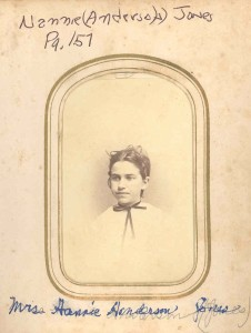 Nannie Anderson Jones was a daughter of Samuel, Jr. (one of the Anderson storekeepers), by Margaret Ann (Beard) Anderson, his first wife, of Rutland, Davidsonville, Maryland. Nannie Anderson married John Jones, of Davidsonville, MD, and they had several children, according to Mrs. DuLaney's Anderson genealogy