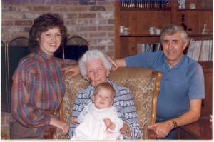 Janet McDonald Rose, her grandmother, Amanda, Janet's dad, Jimmy and Amanda namesake, great grand daughter.