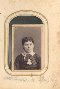 Annie V. Woodward Shipley. DE:74. Second wife of Dr Roderick O. Shipley, of Harmans. She was a daughter of Surveyor John Randolph Woodward and Caroline Virginia (Gardner) Woodward. Mrs. Shipley was thus a sister of Clerk of the Circuit Court William Nicholas Woodward, of Annapolis.