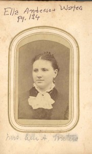 Ella Anderson Waters. DE: 47,78. Her husband was Edward Waters, and they were old residents of Woodwardville. Parents of J. Irving Waters, of Odenton, and others.