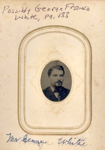 George White. He married Cora E. Mullikin, a daughter of H. Clay Mullikin and Richarda Sophia (Anderson) Mullikin. DE: 84.