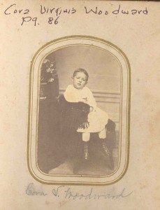 "Cora Virginia Woodward. DE:36,112. The minor daughter of Daniel Dodge (I) Woodward and Mary Virginia (""Jennie"") Anderson, his first wife. Daniel Dodge lost both his first wife and his daughter when the daughter was young. Cousin Cora DuLaney was named after the young Cora Woodward."