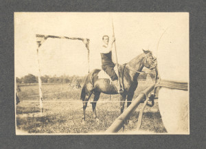 Lemuel Orme Anderson (the jousting knight of Severn Crossroads at Millersville, a bachelor, son of William H. (Sr) and Sarah E. (Shrivener) Anderson, seated on his favorite jousting horse..