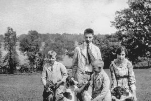 From left to right: Henry Anderson Bowie, John Bowie, Jr., Robert Monroe Bowie, Sr., and Susannah Frances Bowie Baldwin (with their dogs), all siblings and the children of Sheriff John Bowie; photograph taken when they were young.