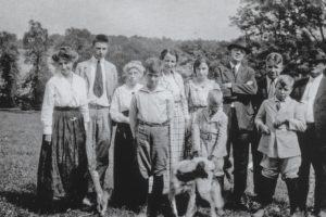 "The entire Grassland family - left to right: Jessie Cooke (Ethel Cooke Bowie's mother), John Bowie, Jr., Susannah Anderson Bowie (""Cousin Susie""), Jarvis(?), Ethel Cooke Bowie, Susannah Frances Bowie (later Baldwin), Robert Monroe Bowie, Sr., Fred Dorsey, Richard Cliffton (?), Henry Anderson Bowie, Sheriff John Bowie. Since ""Cousin Susie"" Anderson Bowie passed during 1934, that somewhat ""dates"" this particular photograph."