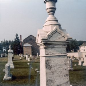 An image of the still existing and still standing main, or principal, Banes family cemetery marker located in the Cemetery of Wards Chapel United Methodist Church, located as above. Lafayette Banes, named on this particular stone, was either the father or grandfather of Anna Margaret Banes Anderson (Mrs. Richard Thomas Anderson), the wife and surviving widow of Anne Arundel County, Maryland, Confederate Civil War soldier Richard Thomas Anderson, whom Mrs. Anderson had interred in this cemetery close to some of her Banes family relatives after his death about 1896, and she was the one who -6- paid to have the two cemetery markers there erected for her late husband and daughter, respectively.