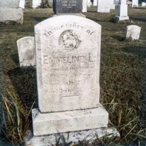 "A ""close up"" image photograph of the grave marker monument for Richard Thomas Anderson's infant daughter, Emmeline Louise Anderson, who preceded in death her father, Richard Thomas Anderson (by a year or two), and which grave monument was one of the two such grave monuments which, in recent years, were erroneously thought to have been disturbed and removed, without permission, from the cemetery of the Wards Chapel United Methodist Church near Randallstown in Baltimore County, Maryland."
